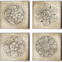 Framed Rosette Neutral 4 Piece Canvas Print Set