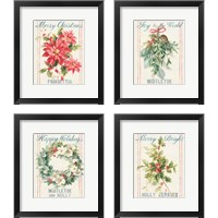 Framed Floursack Holiday Bright 4 Piece Framed Art Print Set