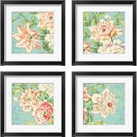 Framed Cottage Roses Bright 4 Piece Framed Art Print Set