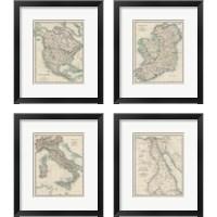 Framed Antique Maps 4 Piece Framed Art Print Set