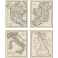 Framed Antique Maps 4 Piece Art Print Set