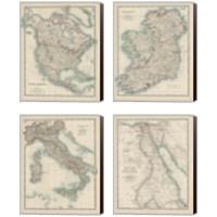 Framed Antique Maps 4 Piece Canvas Print Set