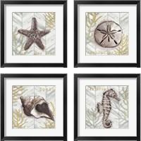 Framed Gray Gold Chevron Sea Life 4 Piece Framed Art Print Set