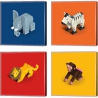 Framed Kids Animal 4 Piece Canvas Print Set