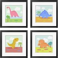 Framed Li'l Dino 4 Piece Framed Art Print Set