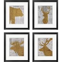 Framed Rustic Lodge Animals on Grey 4 Piece Framed Art Print Set