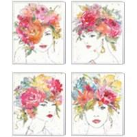 Framed Floral Figures 4 Piece Canvas Print Set