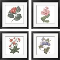 Framed Monument Etching Tile Flowers 4 Piece Framed Art Print Set