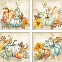 Framed Watercolor Harvest Pumpkin 4 Piece Art Print Set