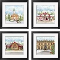 Framed Christmas Village 4 Piece Framed Art Print Set
