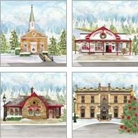 Framed Christmas Village 4 Piece Art Print Set