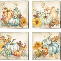 Framed Watercolor Harvest Pumpkin 4 Piece Canvas Print Set