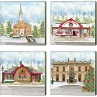 Framed Christmas Village 4 Piece Canvas Print Set