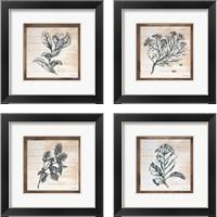 Framed Petals on Planks 4 Piece Framed Art Print Set