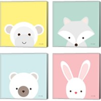 Framed Cuddly Animal 4 Piece Canvas Print Set