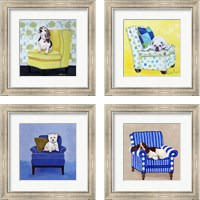 Framed Dogs on Chairs 4 Piece Framed Art Print Set