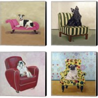 Framed Dogs on Chairs 4 Piece Canvas Print Set