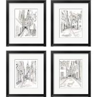 Framed European City Sketch 4 Piece Framed Art Print Set