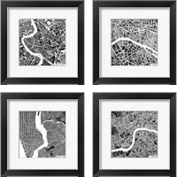 Framed City Maps Black 4 Piece Framed Art Print Set