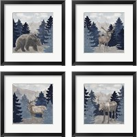 Framed Blue Cliff Mountains 4 Piece Framed Art Print Set