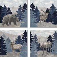 Framed Blue Cliff Mountains 4 Piece Art Print Set