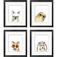Framed Animal in Glasses 4 Piece Framed Art Print Set