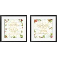 Framed Christmas Sentiments Gold 2 Piece Framed Art Print Set