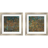Framed Blue and Bronze Dots 2 Piece Framed Art Print Set