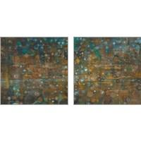 Framed Blue and Bronze Dots 2 Piece Art Print Set
