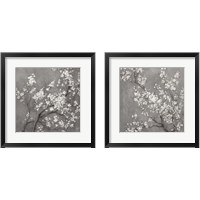 Framed White Cherry Blossoms on Grey 2 Piece Framed Art Print Set