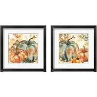 Framed Watercolor Harvest Teal and Orange Pumpkins 2 Piece Framed Art Print Set