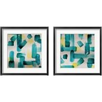 Framed Aqua Abstract Square 2 Piece Framed Art Print Set