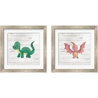 Framed Water Color Dino  2 Piece Framed Art Print Set