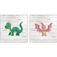 Framed Water Color Dino  2 Piece Art Print Set