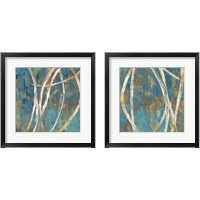 Framed Teal Abstract 2 Piece Framed Art Print Set