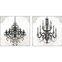 Framed Black Chandelier 2 Piece Art Print Set