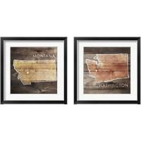 Framed US State Rustic Maps 2 Piece Framed Art Print Set