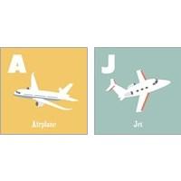 Framed Transportation Alphabet 2 Piece Art Print Set