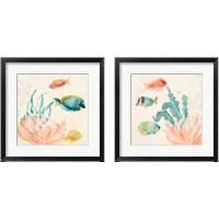 Framed Tropical Teal Coral Medley 2 Piece Framed Art Print Set