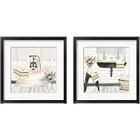 Framed Farmhouse Bathroom 2 Piece Framed Art Print Set