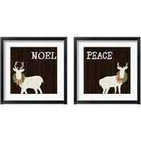 Framed Wooden Deer with Wreath 2 Piece Framed Art Print Set