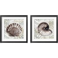 Framed Gray Gold Chevron Sea Life 2 Piece Framed Art Print Set