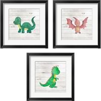 Framed Water Color Dino  3 Piece Framed Art Print Set
