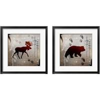 Framed Moose & Bear Tracks 2 Piece Framed Art Print Set