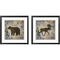 Framed Bear & Moose Lodge 2 Piece Framed Art Print Set