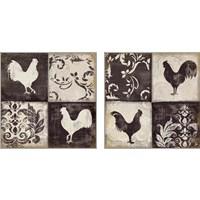 Framed Rooster Silhouette 2 Piece Art Print Set