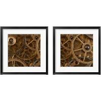 Framed Copper Cogs Close up 2 Piece Framed Art Print Set