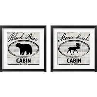 Framed Blue Bear Lodge Sign 2 Piece Framed Art Print Set