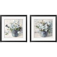 Framed Garden Blooms Blue 2 Piece Framed Art Print Set