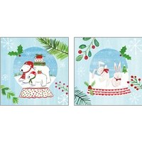 Framed Snow Globe Animals 2 Piece Art Print Set